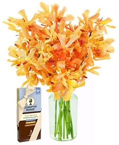 Sunset Serenade with Golden Mokara Orchids and Scharffen Berger Chocolates (10 Stems) – With Vase