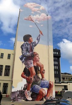 """New mural, """"Chasing the thin white cloud"""" by Fintan Magee in Dunedin, New Zealand"""