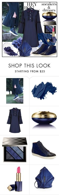"""Sporty Chic: Sneakers and Dresses"" by din-sesantadue ❤ liked on Polyvore featuring Bobbi Brown Cosmetics, VIVETTA, Guerlain, Burberry, Mezlan, Estée Lauder and Kara"