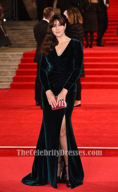 Monica Bellucci Dark Green Long Sleeve Evening Dress 'Spectre' London Premiere TCD6369