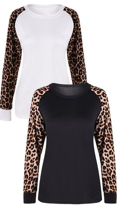 $11.46 Raglan Sleeve Leopard Insert T-Shirt