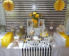 Yellow and black Baby shower lolly buffet http://thecompletekidsparty.com.au/lolly-buffet/
