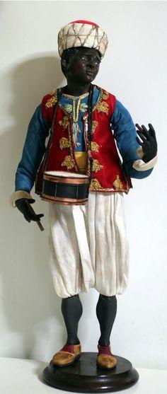 "Old Vintage Italian Neapolitan Creche Moro Doll Glass Eyes 17 1/5"""