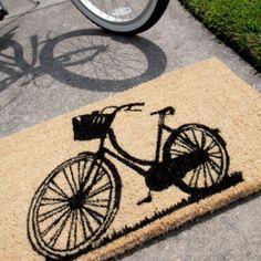 Doormat with Bike - Black and Bleached - 18 in. x 30 in. Hand Woven Coconut Fiber Door Mat-1030S by Entryways