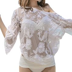 >> Click to Buy << 2017 Women Sexy Lace off shoulder blouse Crochet hollow out Net Yarn Embroidered Long Sleeve Shirt - White #Affiliate