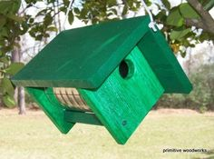 Wooden Birdhouse, Coffee Can Birdhouse, Primitive Rustic Bird House, Painted Recycled Weathered Rough Cedar, Painted Ivy Green Faux Paint Recycling, Plants For Hanging Baskets, Bird Houses Painted, Diy Bird Feeder, Large Backyard, Recycled Wood, Coffee Cans, Folgers Coffee, Diy Woodworking