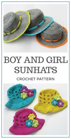 Cute hats for a boy and a girl. Boy and Girl Sunhats Crochet Pattern, Crochet Pattern, Crochet Sun Hat Pattern, Crochet Hat Pattern, Sun Hat Pattern, Crochet Hat Pattern #crochet #crochetpattern #ad #hat #summer #diy