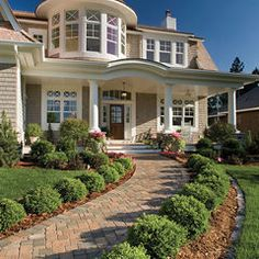brick front walkway and landscaping