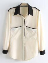 Beige Long Sleeve Contrast Black Lapel Pocket Blouse US$26.20