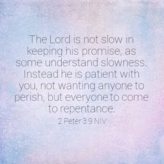 """""""The Lord is not slow in keeping his promise, as some understand slowness. Instead he is patient with you, not wanting anyone to perish, but everyone to come to repentance."""" 2 Peter 3:9 NIV"""