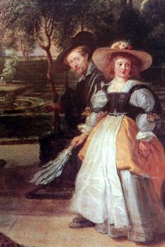 Pieter Paul Rubens (1577 – 1640)  Selfportait with Helene Fourment, 1631(?) -  (particular)  cm 97,5 x 230,8