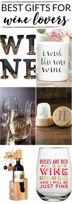 Have a wine lover in your life? Check out this list of best gifts for wine lovers. / wine cork art, monogrammed wine glasses, monogrammed wine bottle stopper/I wish this was wine mug/ www.designertrapped.com #GiftsForWineLovers