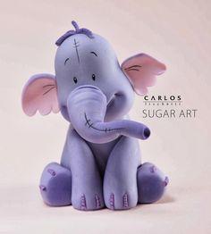 Lumpy, the Heffalump, a Winnie The Pooh´s friend - Sugar art Fondant Cake Toppers, Fondant Cakes, Cupcake Cakes, Cupcake Toppers, Polymer Clay Figures, Fondant Figures, Winnie The Pooh, Fondant Animals, Fondant Tutorial