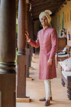 A dusty pink sherwani for Groom Phil of WeddingSutra. Photo Courtesy- Sunny Pariani Photography #WeddingSutra #groom #indiangrooms #wedding #indianwedding #Indian #sherwani #dustypink #white