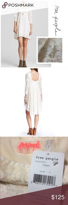 """✨Free People Lace Gypsy Dress✨ NWT Lace dress in creamy white with high-low crochet hem. Sheer lace sleeves. Hidden side zip. 70% Nylon. 30% Cotton. Measures 14"""" across at ribbon detail below bustline. 33"""" from shoulder seam down to front hem, and 39"""" down to back hem. Semi-open back with ribbon tie. 8"""" from shoulder seam to bottom of back opening. Originally priced at $250. Really gorgeous!  Free People Dresses"""