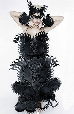 Eugenia Alejos is a young Spanish fashion designer who's probably best known for her illustration works and namely the fabric collag. Structured Fashion, Iris Van Herpen, Spanish Fashion, Fashion Art, Fashion Design, Fashion Clothes, Sculptural Fashion, Fabric Manipulation, Timeless Fashion