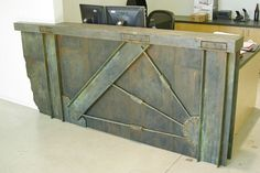 Industrial Reception Desk or Cash Wrap Facade by ArchitectByDay