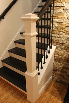 Step-by-step tutorial on how to remodel a carpeted staircase into one with wooden treads and iron balusters ( Parents house) Iron Balusters, Banisters, Railings, Stair Spindles, Iron Staircase Railing, Refinish Staircase, Best Flooring For Basement, Basement Stairs, Basement Ideas