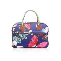 SALE Butterfly 'Cath Kidston' Designer Style Matte Canvas Overnight Weekend Bag (Navy)
