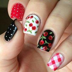 Polka dots, Cherries, and plaid nails.