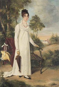 """shatovthings: """"  """"Portrait of a lady, small full-length, in a white dress, holding a parasol, standing by a rustic chair, in a wooded landscape, a cottage beyond"""" (1800s). British School. Source: www.mutualart.com """""""