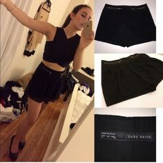 Zara Black Shorts w/ Chiffon Layover and Zippers L Zara black shorts with a pleated chiffon layover. It looks like a skirt in the front but shorts in the back (kind of a skort). Gold zipper details. Size: Large. In good condition as shown in pictures. Zara Shorts