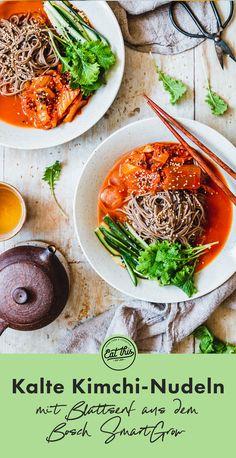 Kalte Kimchi Nudeln – Bibim Guksu · Eat this! Healthy Dishes, Healthy Recipes, Healthy Food, Eat This, Asian Recipes, Ethnic Recipes, Asian Noodles, Vegan Soups, Salad Bowls