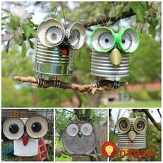 Tin can crafts Owl crafts Garden crafts Crafts Recycled crafts Kids Crafts, Tin Can Crafts, Owl Crafts, Diy And Crafts, Craft Projects, Arts And Crafts, Paper Crafts, Crafts With Tin Cans, Tin Can Art