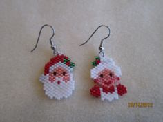 Mr and Mrs Santa Handmade Holiday Earrings by EagleplumeCreations, $15.99