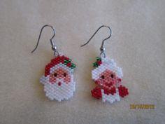 Mr and Mrs Santa Handmade Holiday Earrings by EagleplumeCreations, $15.99