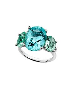 One a kind cuprian tourmaline with mint green tourmaline and diamond accents in 18K white gold by Jane Taylor