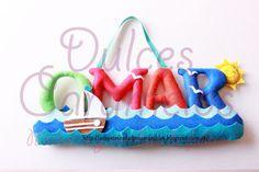 Omar, nombre de fieltro marinero sol, barco, olas / Name felt custom, sun, boat , waves http://accesoriosdulcescaramelos.blogspot.com.es/2015/06/omar-nombre-de-fieltro-marinero.html