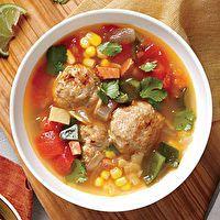 Tortilla Soup with Chorizo and Turkey Meatballs by MyRecipes