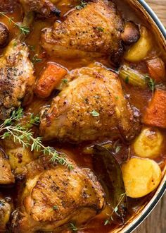 Super crispy skin with ultra tender flesh, smothered in a thick savoury sauce with tender vegetables. This Chicken Stew is a one pot dinner that's easy enough for midweek and a firm favourite with all!