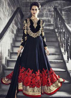 Dark Blue & Red Georgette Embroidered Floor-Length Anarkali