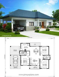 Low Budget Modern 3 Bedroom House Design Elegant 3 Bedrooms Home Design Plan 10x12m In 2020 Bungalow House Plans Simple House Design Modern Style House Plans