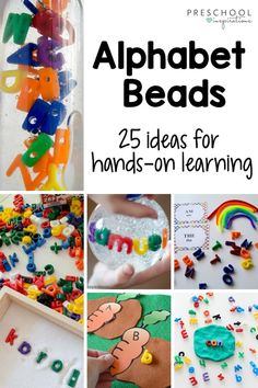 We LOVE using alphabet beads to teach - they're full of hands-on learning possibilities! Check out 25 different ideas, including ways to use them in a literacy center, writing center, as name… More