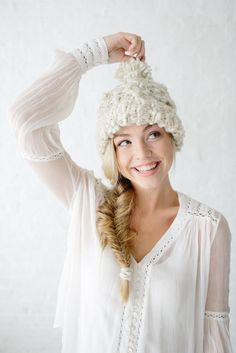 Snow Bunny Cable Beanie in Winter White | Knit Collage