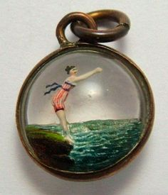 Victorian rock crystal with lady diving, intaglio (figure or design carved into or beneath the surface) bubble charm Victorian Jewelry, Gothic Jewelry, Antique Jewelry, Vintage Jewelry, Boho Jewelry, Gemstone Jewelry, Enamel Jewelry, Charm Jewelry, Jewelry Box