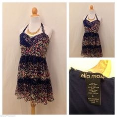 ELLA MOSS Navy Blue Floral Mini Ruffled Dress Size L