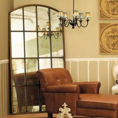Large Arched Window Design Mirror -Forged Metal.  Looks great on the floor.  Maybe for the dining room.