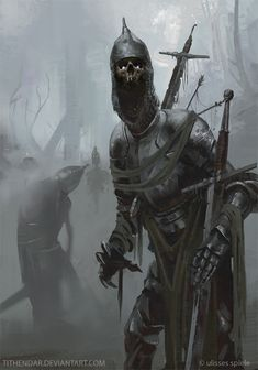 "Undead Knights – illustration by Axel Sauerwald for the p&p rpg DSA (""Das schwarze Auge"")"