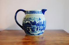 Large Ironstone Flow Blue Pitcher, 96 Ounce Victoria Ware Antique Reproduction Blue on Blue Glazed Stoneware, Romantic Old English Style - SOLD! :)