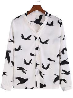 Blusa cuello mao estampado -blanco negro-Spanish SheIn(Sheinside) Blusas  Cuello Mao 16167f7ecd0be