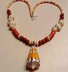 Cone Shell Necklace orange oyster shell heishi by EbbTideArts