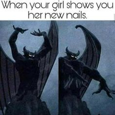 """""""When your girl shows you her new nails.""""This meme speaks volumes! Every time my girlfriend paints her nails, she does exactly the same thing as this ..."""