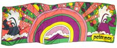 Peter Max scarf. Late 1960s - early 1970s. Silk. (saw this in London in Jan '14!!)