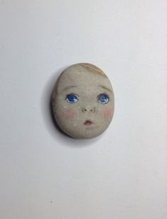 Original painting outsider Kaveman art face Boy baby George stone painted rock (08/07/2015)