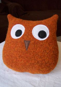 owl pillow - upcycled sweater