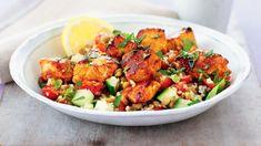 Turkey skewers and bulgur salad